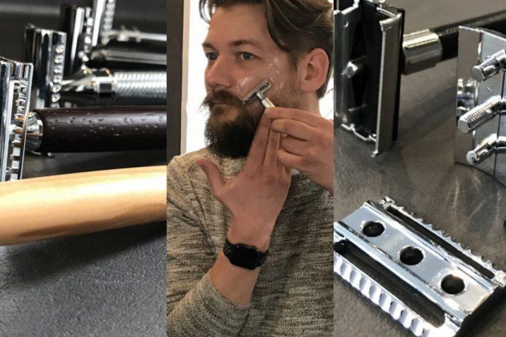 scheren met een safety razor