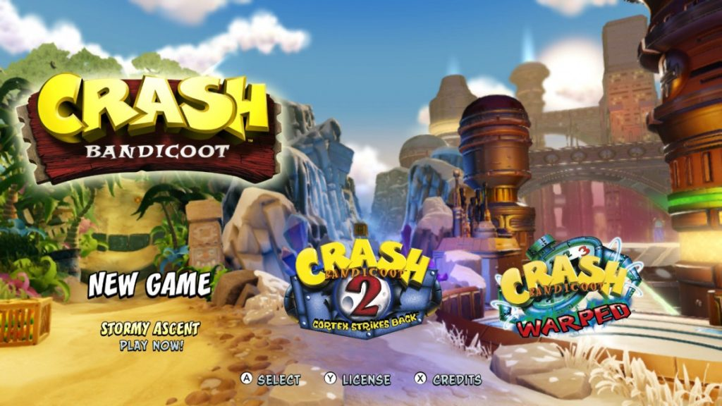 Crash Bandicoot start scherm