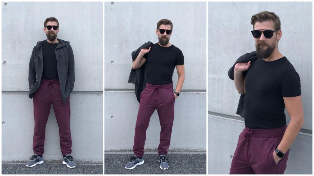 Rood paarse joggingbroek casual gedragen