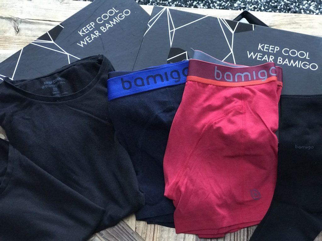 Selectie van verschillende Bamigo Underwear. Shirts, boxers en sokken allemaal gemaakt van bamboe.