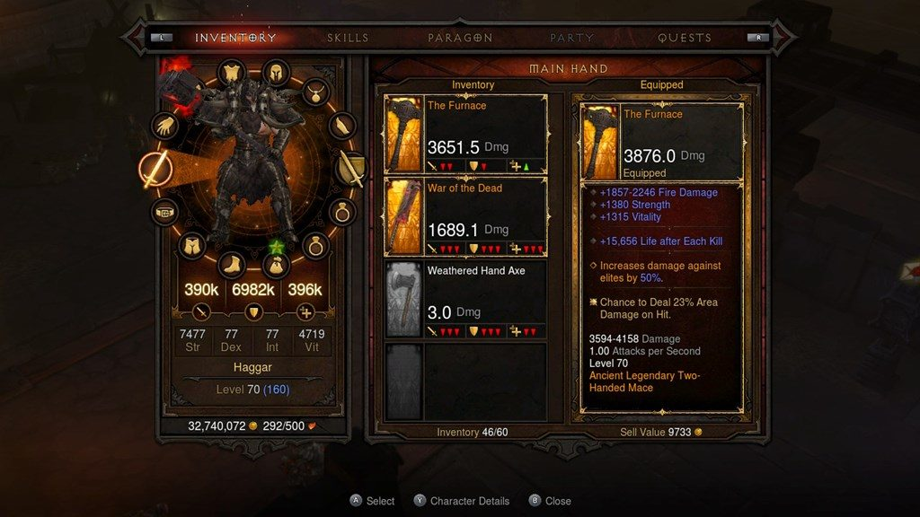 Diablo III Switch Inventory