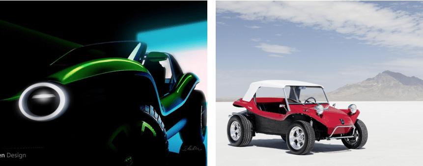 De nieuwe en de oude volkswagen buggy