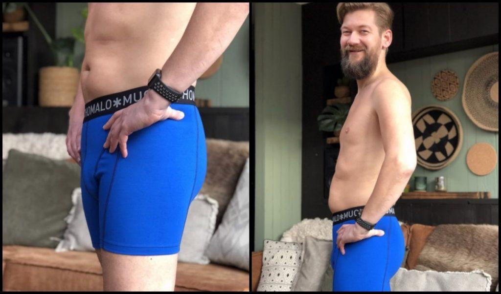 Jan Willem met een blauwe Muchachomalo boxer