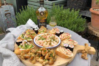 borrelplank met vis recepten bij genever