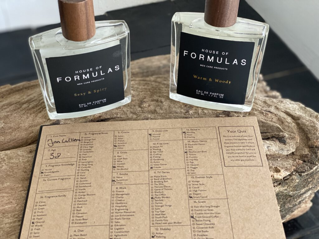 Dit is het formule van mijn persoonlijke parfum